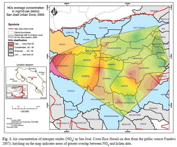 Use of a Geographic Information System and lichens to map air