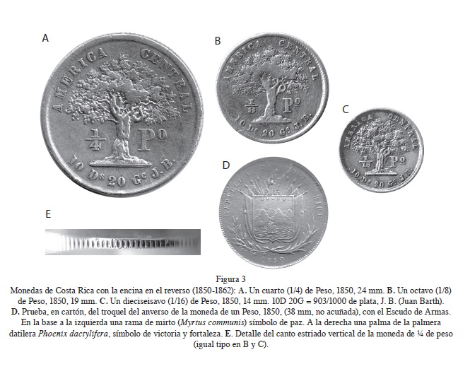 An oak tree (Quercus sp.): In coins and paper money of Costa Rica ...